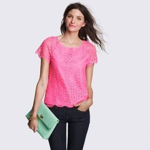 J. Crew Factory Pink Scalloped Lace Top